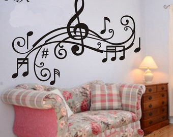 100x70cm Removable Music Note  Nature Vinyl Wall Paper Decal Art Sticker Q862-5