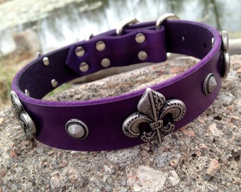"Cool Custom Fleur de lis leather dog collar 1"" purple band with swiss hardware"