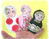 Three Little Sisters Finger Puppets, Felt People Puppets, - MelsCreativeWishes