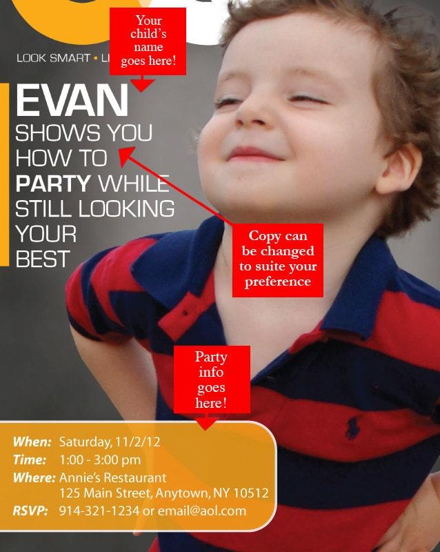 Personalized Fashion Magazine Cover Birthday Invitation - GQ ...