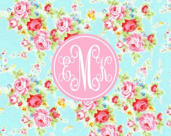 Monogrammed Placemat, Personalized Laminated Placemat, Shabby Floral Placemat, Double Sided Placemat