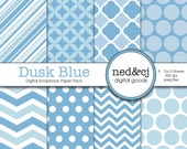 Digital Scrapbook Paper Pack - Dusk Blue - 2013 Pantone Spring Collection - INSTANT DOWNLOAD