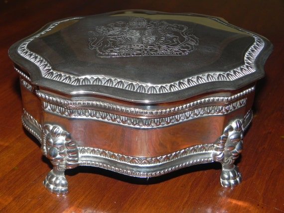 claw footed silver plated jewelry box dieu et mon droit