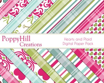Printable Hearts and Plaid Digital Paper Pack - For Commercial or Personal Use