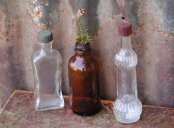 Small glass bottles set of 3 vintage bottles medicine by Painting old glass bottles