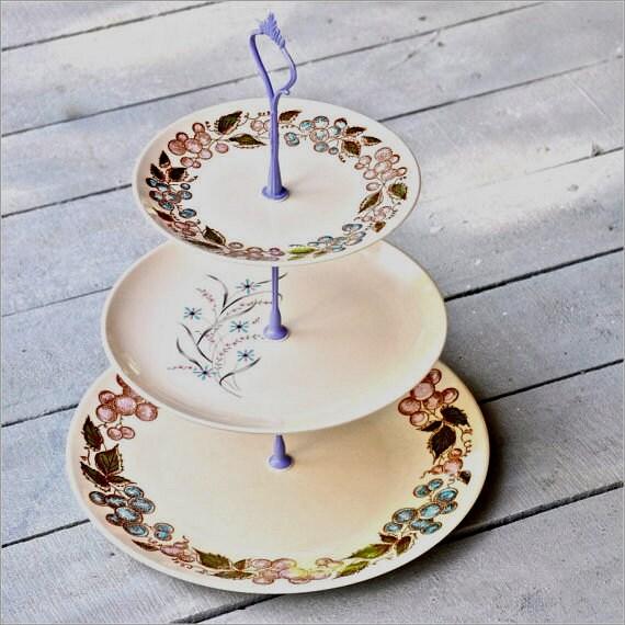 Katama: 3 Tier Cake Stand, Vintage China Cake Stand, Cupcake Display, Botanical