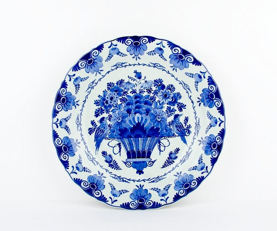 Blue Wall Plates: Vintage Delft Blue Wall Plate With Flower By