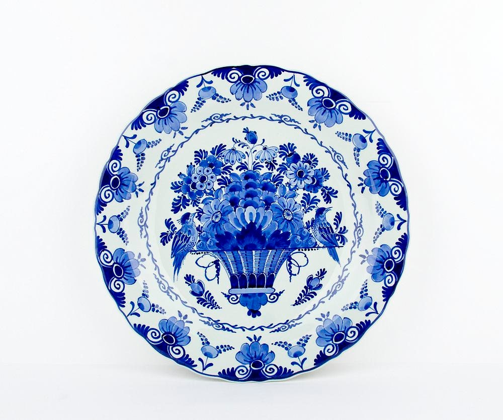 Vintage Delft Blue Wall Plate With Flower By