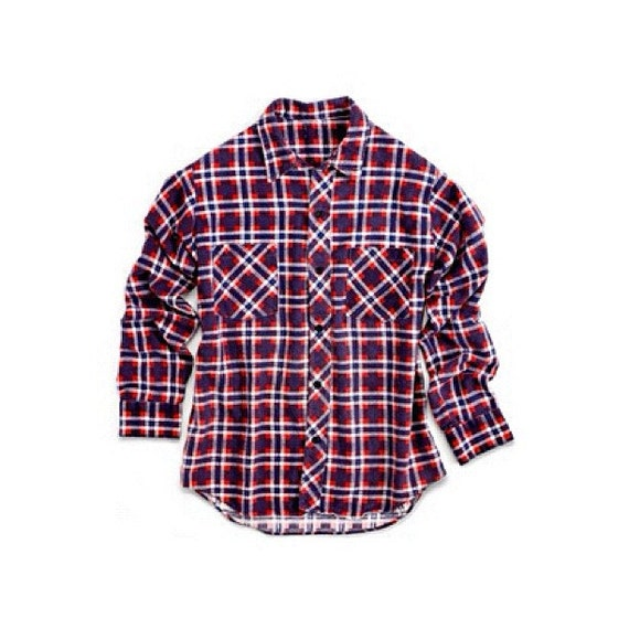 Red White And Blue Vintage Plaid Flannel Shirt Size Os