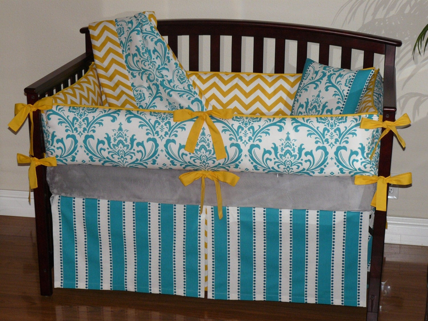 grey and yellow chevron turquoise damask 3pc bedding set. Black Bedroom Furniture Sets. Home Design Ideas