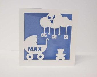 New baby pram papercut personalised card