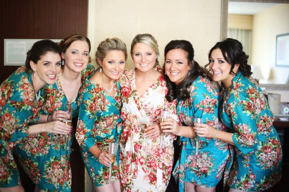set of 6 floral kimono crossover patterned robe bridesmaids
