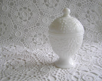 Milk Glass Avon Floral Covered Dish, Container for Jewelry, Kitchen or Bath