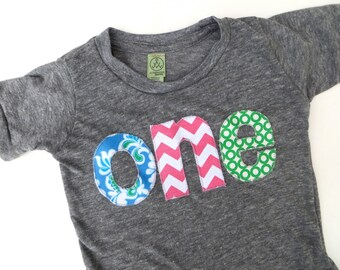 one lowercase with damask flowers, chevron and green circles for girls 1st Birthday Shirt