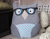 owl pillow.hipster owl. hipster. owl. pillow. gray.