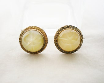Vintage Yellow Glass Earrings - 1960s Punched Brass Setting Twist Style Closure