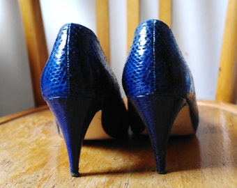 Real Lizard electric blue Vintage shoes