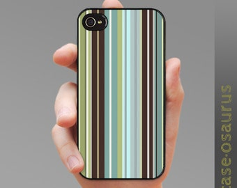 iPhone Case - Turquoise n' Chocolate Stripes for iPhone 6, iPhone 5/5s or iPhone 4/4s, Samsung Galaxy S6, Galaxy S5, Galaxy S4, Galaxy S3