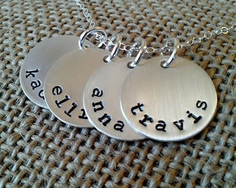 Sterling Silver Personalized 4-Charm Kids Name Necklace - Custom Family Necklace - Mom Necklace - Stamped Evermore
