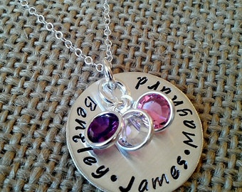 Hand Stamped Mom Necklace - Custom Family Necklace - Grandma Necklace - Personalized Mother Necklace - Kid Names Necklace - Stamped Evermore