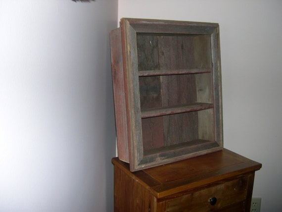 Custom reclaimed barnwood shadow box shelf by bvoutdoors for Barnwood shelves for sale