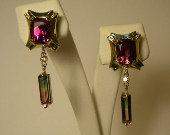 Handcrafted 14K White Gold Pink and Green Tourmaline and Diamond Dangle Post Earrings