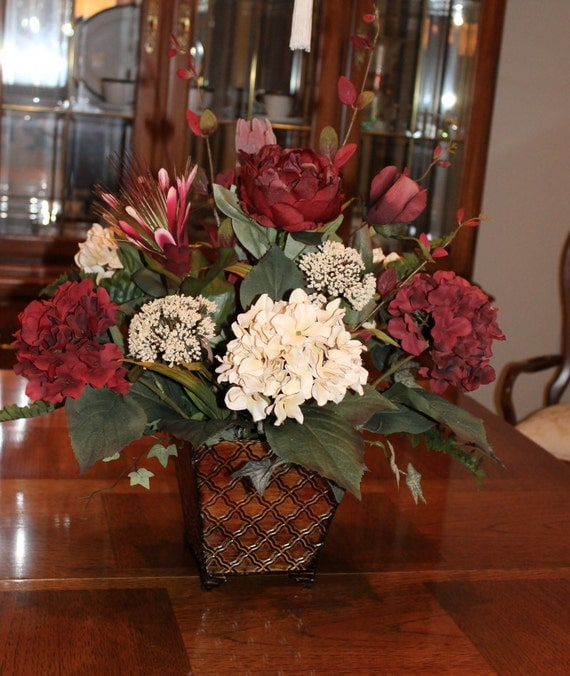 Burgundy floral centerpiece by silkeleganceflorals on etsy