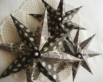 Shabby chic paper stars set of 3 in black and cream damask and dots
