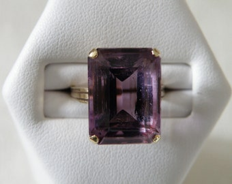 Incredible Art Deco 14K Amethyst Ring - 7.5 ctw and Size 4 1/4 U.S.