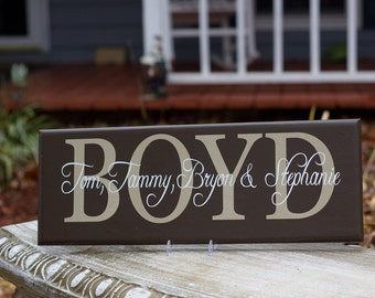 Personalized Last Name Sign. Family Name Sign are Great Wedding Gifts, Bridal Shower or Anniversary Gift