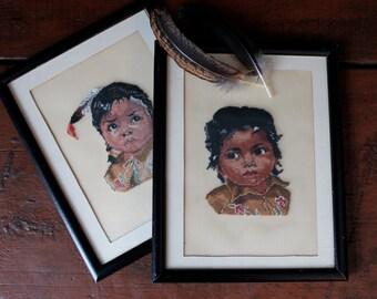 Native Children Petit Point Needlework Cross Stitch