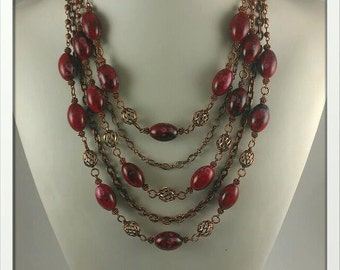 Five Strand Copper and Red Necklace with 4 inch extender