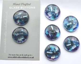 SOLD, Commissioned 6 x  Fused glass blue Dichroic Buttons
