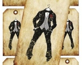 INSTANT DOWNLOAD Digital Collage handrawn wedding groom  Bow-tie invitation tag No. Vt0053