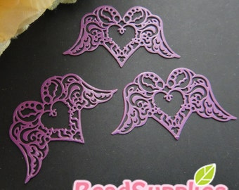 CH-ME-01871 - Purple enameled, Filigree heart wing , 4 pcs