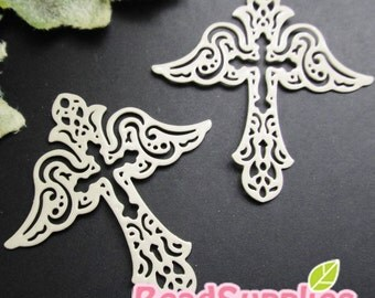 CH-ME-01875 - nickel free,  Off white enameled,Filigree cross wing, 4 pcs