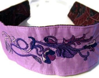 Embroidered Floral Headband Recycled Paraglider Eco Friendly Reversible