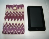 Upcyled Pink & Cream Tablet Sleeve Cover Pouch Handmade In France