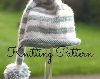 Knitting Pattern /DIY Instructions - Stripey Baby Stocking Hat - Instant Download