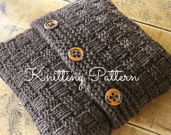 Knitting Pattern/DIY Instructions - Super Chunky Basketweave Cushion Cover
