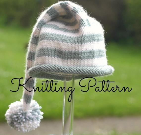 Knitting Pattern /DIY Instructions Stripey Baby Stocking Hat