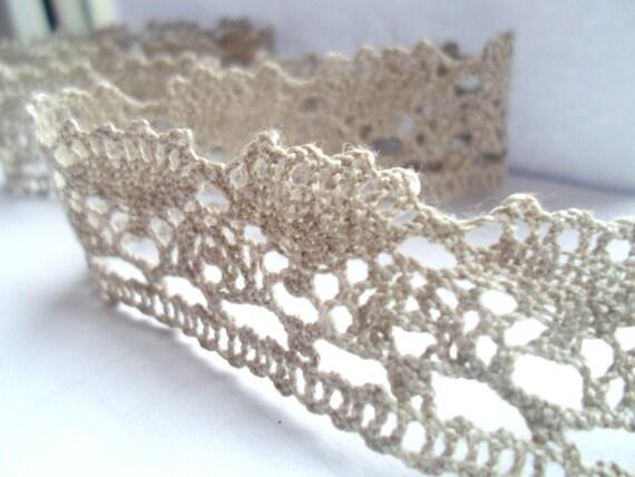 100% Linen Lace Trim, 3m/3,3 yards, Natural Linen Lace