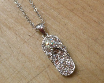 Flip Flop Necklace - Rhinestone Silver Flip Flop Necklace