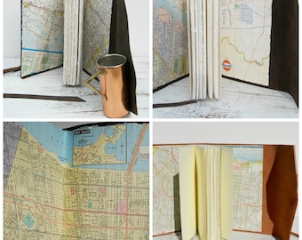 Custom Leather Journal Bound Travel Vintage Map (201)