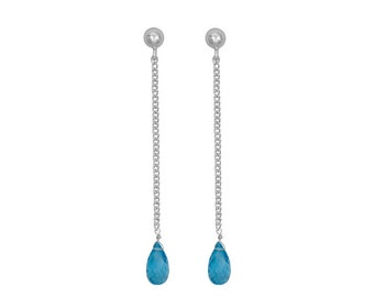Blue Topaz Earrings- Swiss Blue Topaz Dangle Earrings- December Birthstone Earrings- Gemstone Earrings- Topaz Earrings