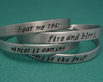 Game of Thrones Inspired - House Words - Choose Your Own Hand Stamped Aluminum Bracelet