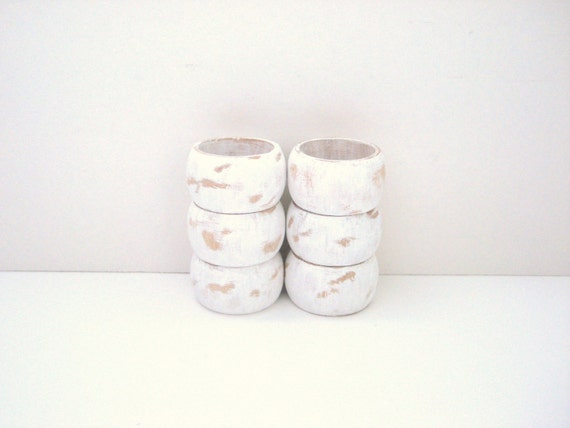 White Napkin Rings - Distressed Shabby Chic - Hostess Gift - Upcycled