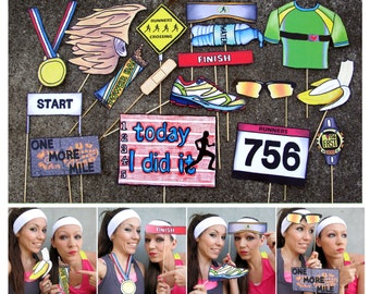 Running race photo booth props perfect for your pre-run party or after run party or just to celebrate running