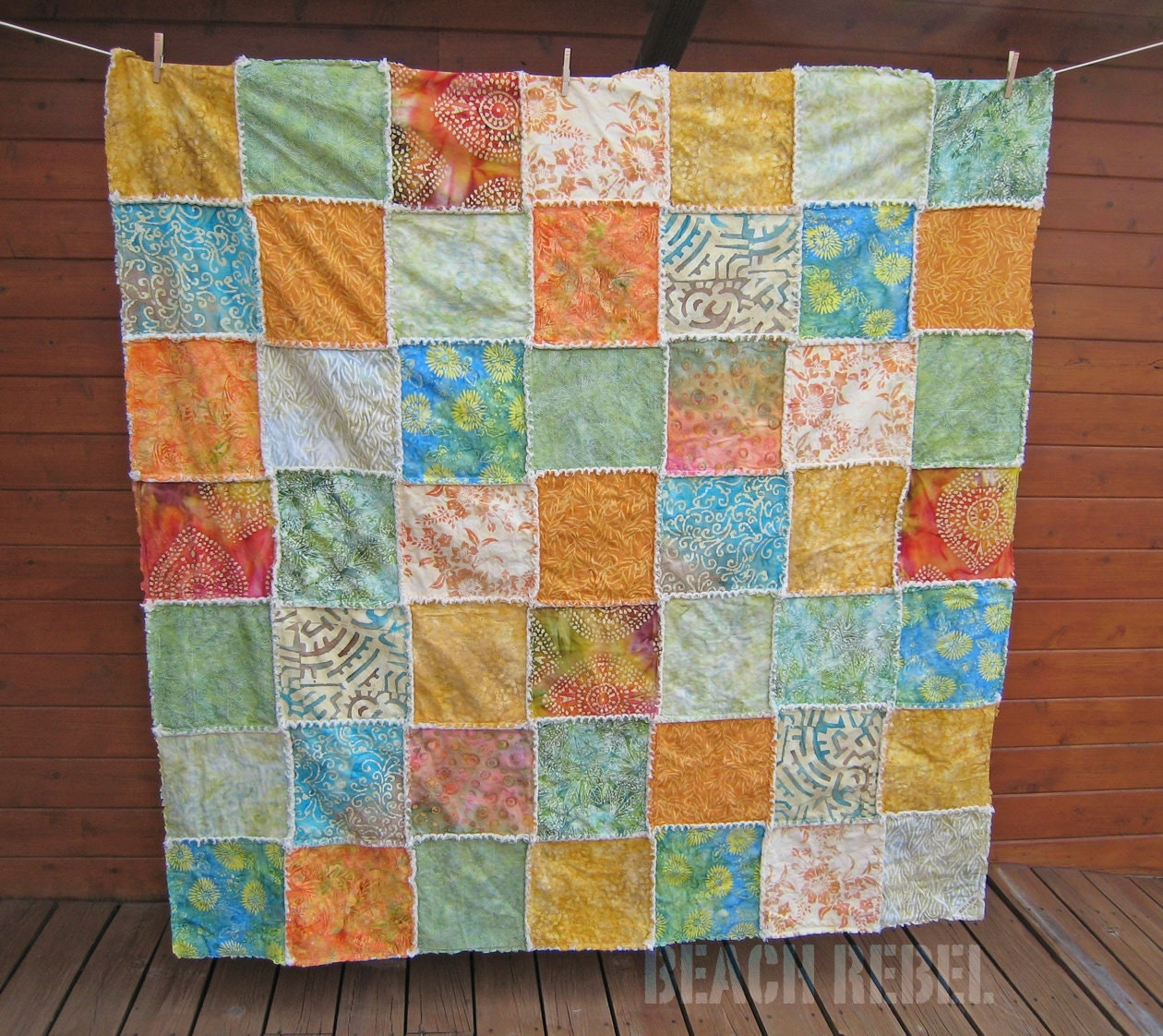 Rag Quilt Color Ideas : Batik and denim rag quilt throw in summertime colors by BeachRebel