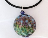 Blue geometric mood bead pendant